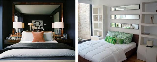 зеркало кроватью в спальне