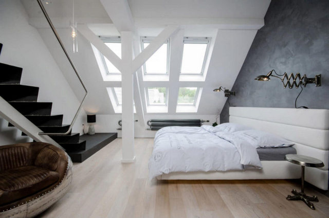 спальня в стиле лофт белая