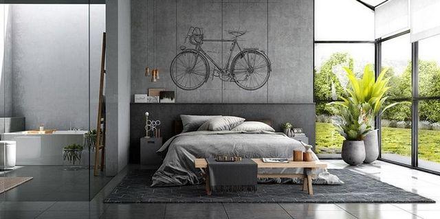 спальня в стиле лофт панорамные окна