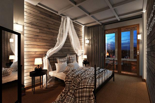 спальня в стиле лофт с балдахином