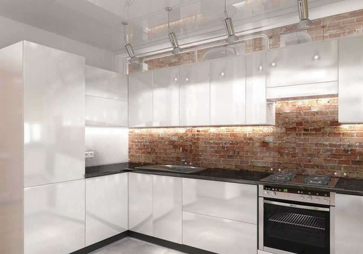 белая кухня с чёрной столешницей