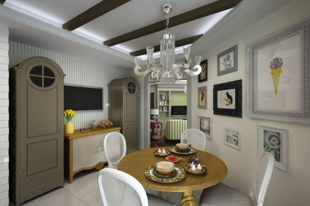 белая кухня в английском стиле потолочные балки