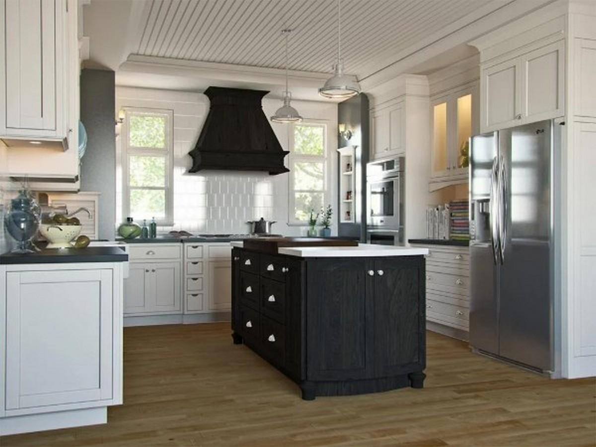 белая кухня в английском стиле с островом цвета венге