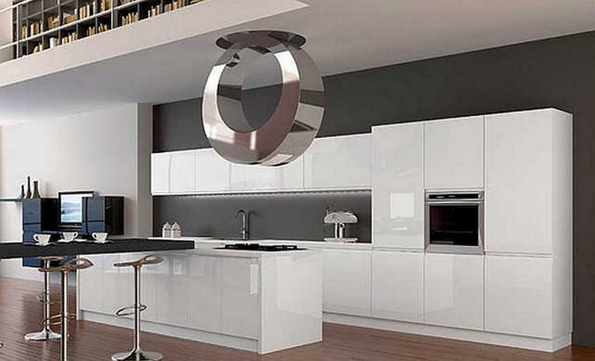 белая кухня в стиле хай тек интерьер