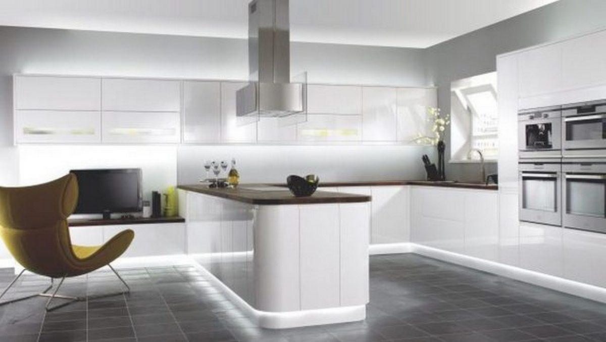 белая кухня в стиле хай тек на фото