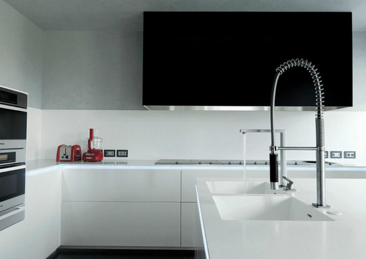 белая кухня в стиле хай тек поверхности