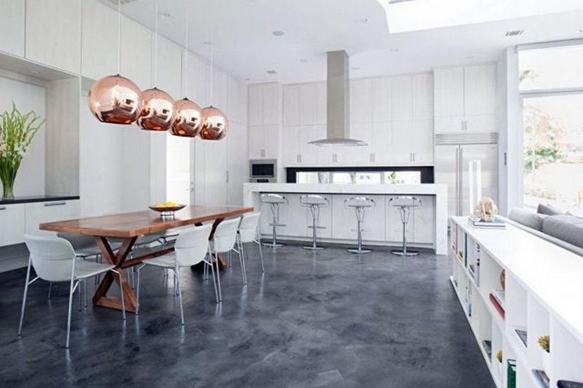 белая кухня в стиле хай тек с тёмным полом