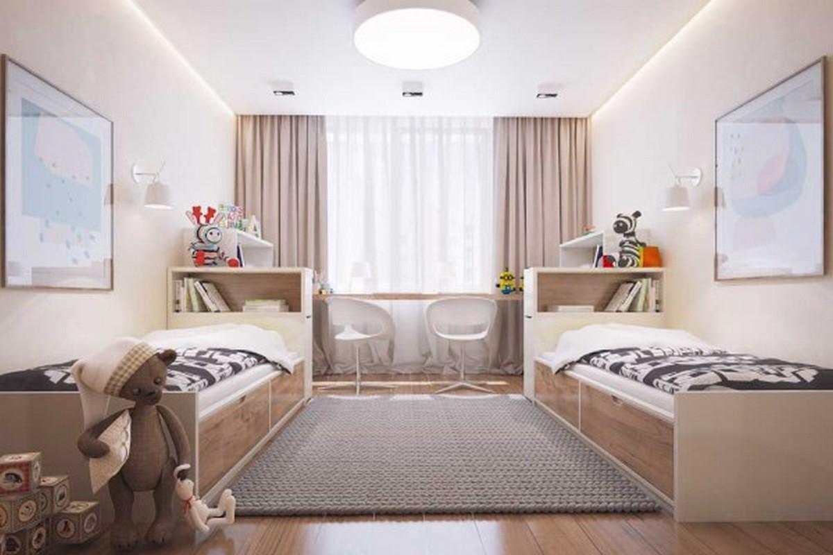 бежевая детская комната в лаконичном дизайне освещение