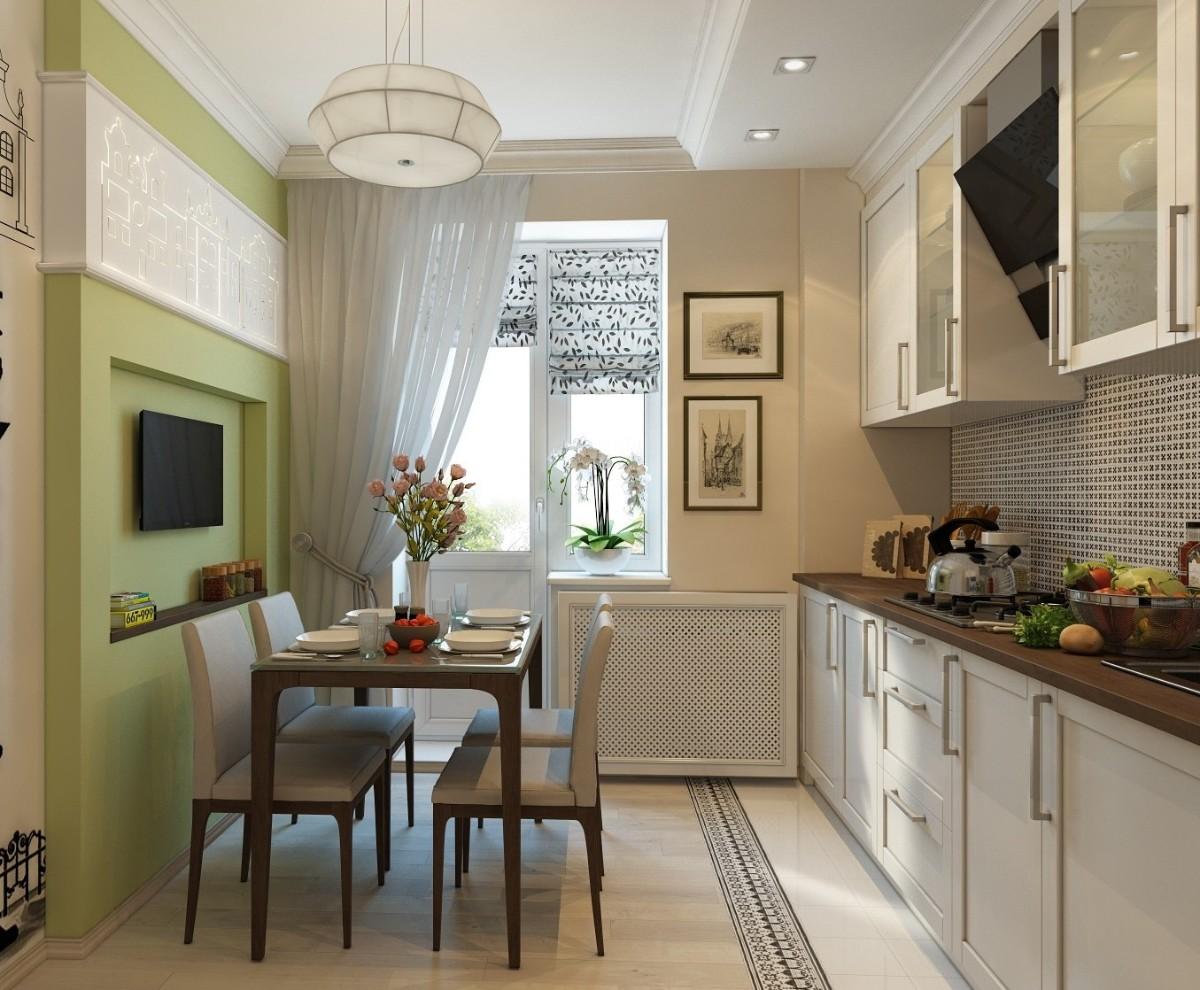 бежевая кухня с акцентной стеной салатового цвета