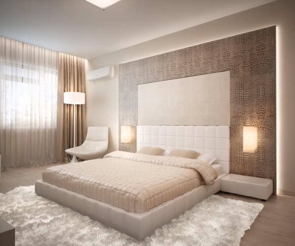 бежевая спальня в современном стиле