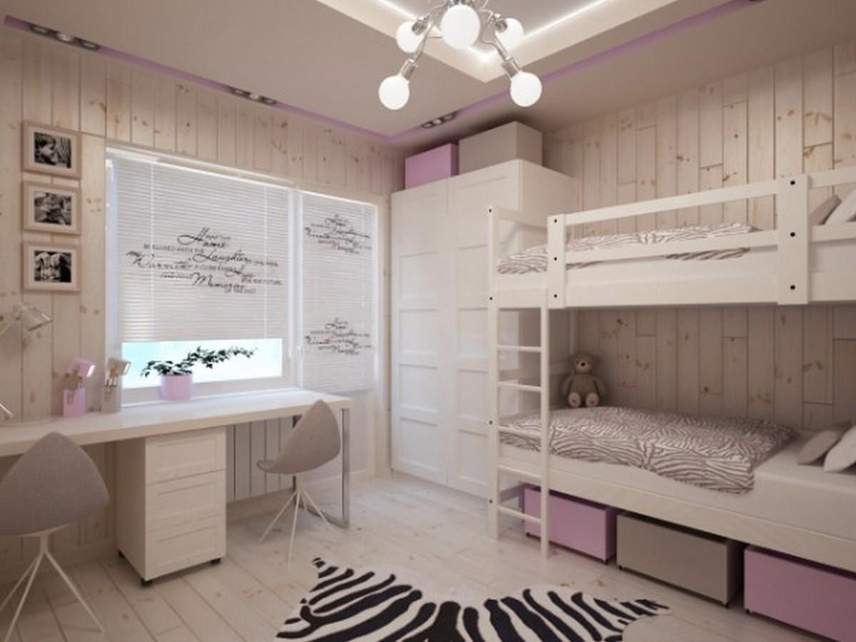 бледно-лиловая детская комната для девочки освещение