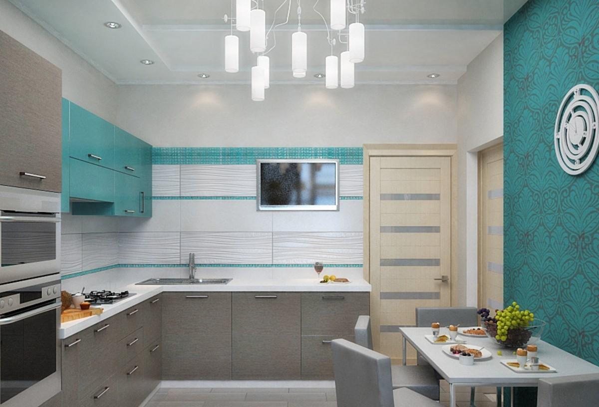 бледно-серая кухня с ярким акцентом бирюзовая стена