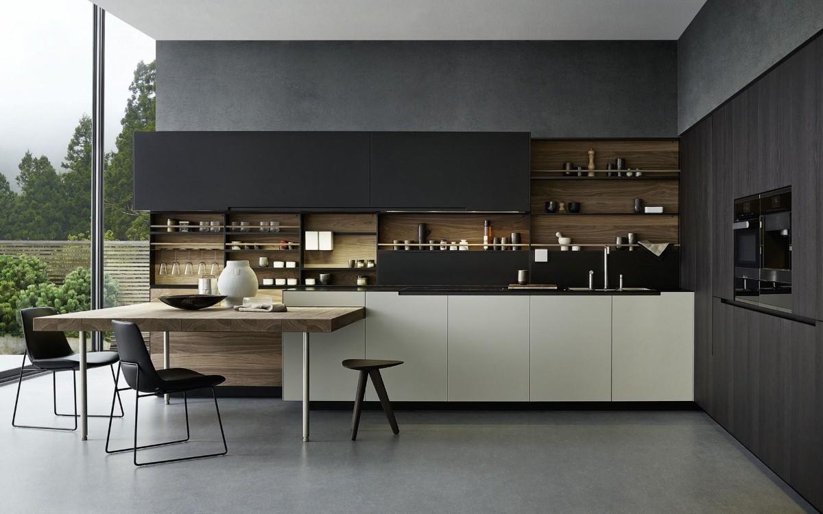 чёрная кухня с яркими белыми акцентами