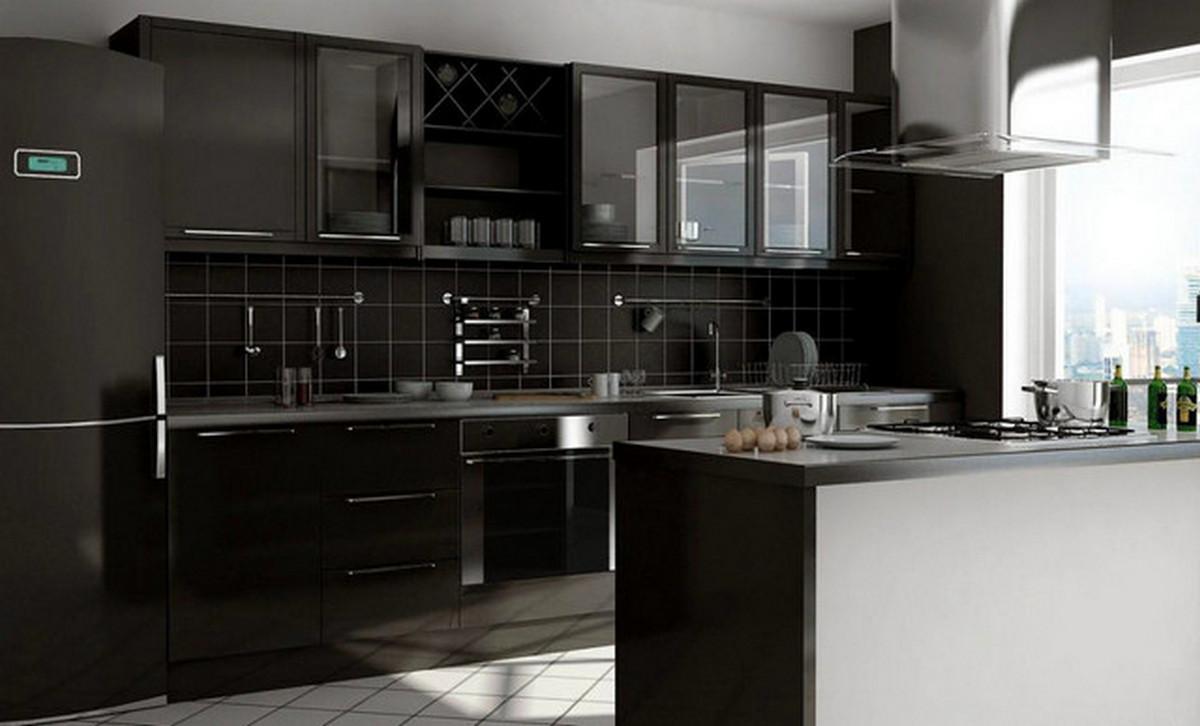 чёрная кухня в стиле хай тек фото