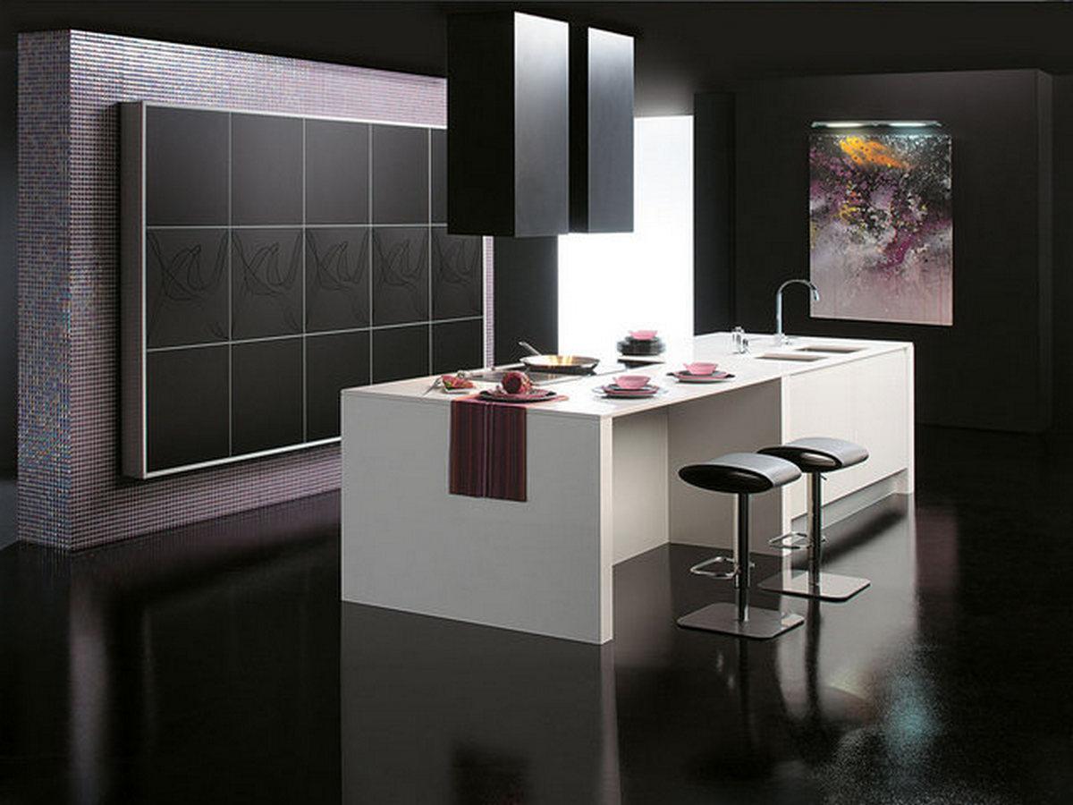чёрная кухня в стиле хай тек интерьер