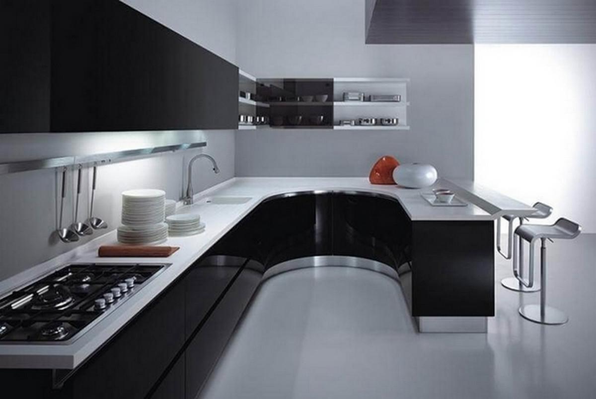 чёрная кухня в стиле хай тек