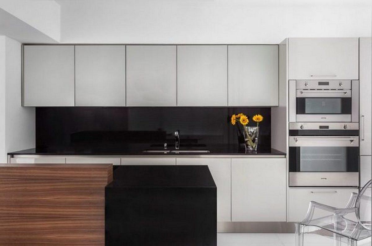 чёрно-белая кухня в стиле хай тек