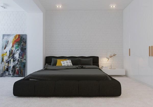 чёрно-белая спальня в современном стиле