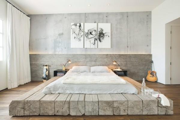 дерево как основа для кровати спальня в современном стиле