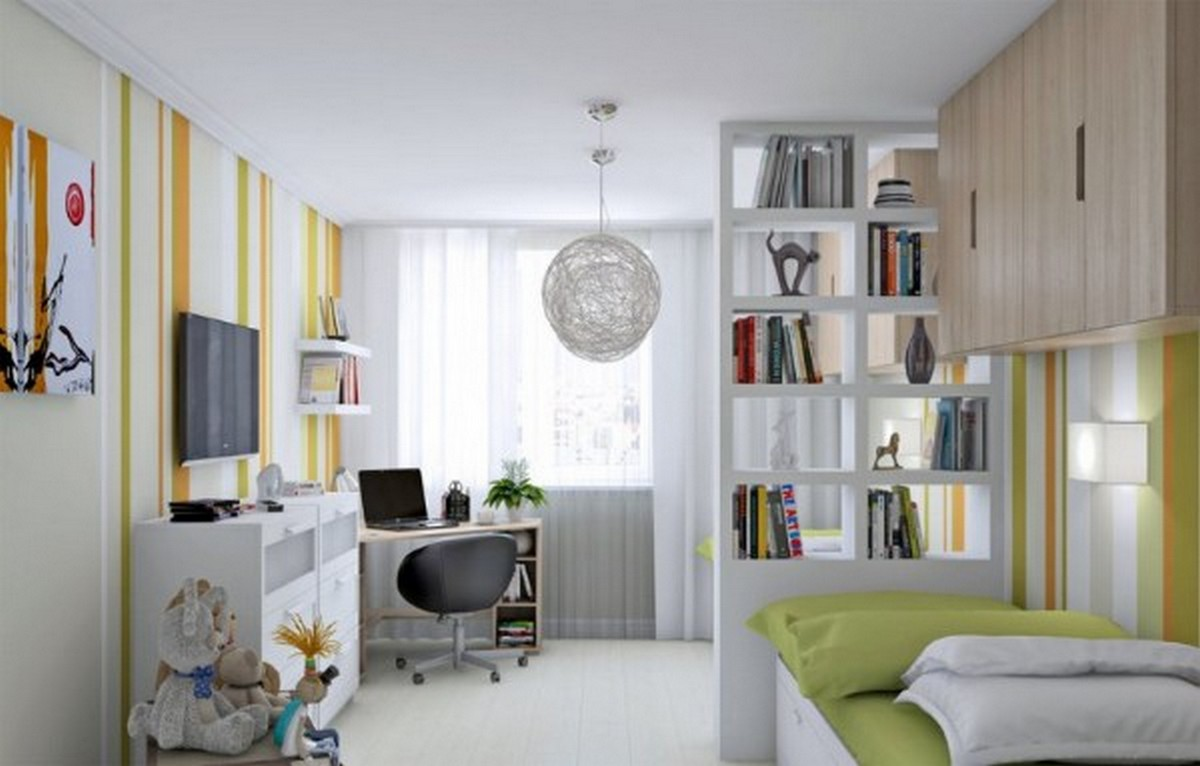 детская комната дизайн освещение обои в полоску