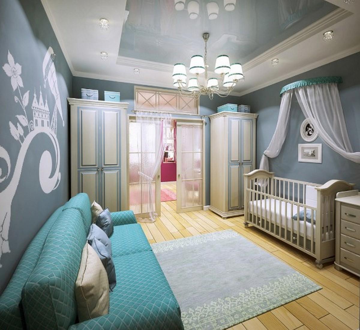 детская комната для новорождённого дизайн освещение