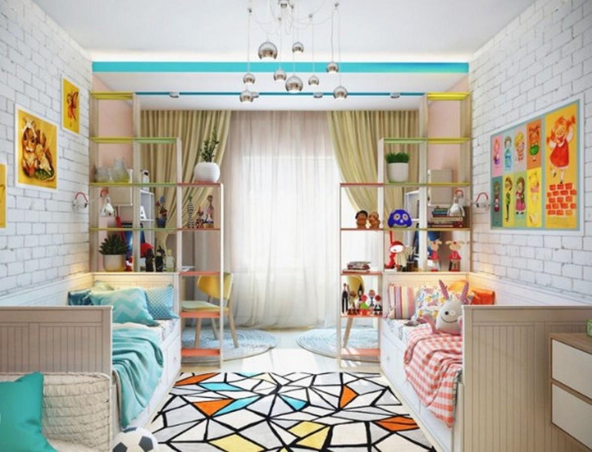 детская комната с елементами лофта освещение