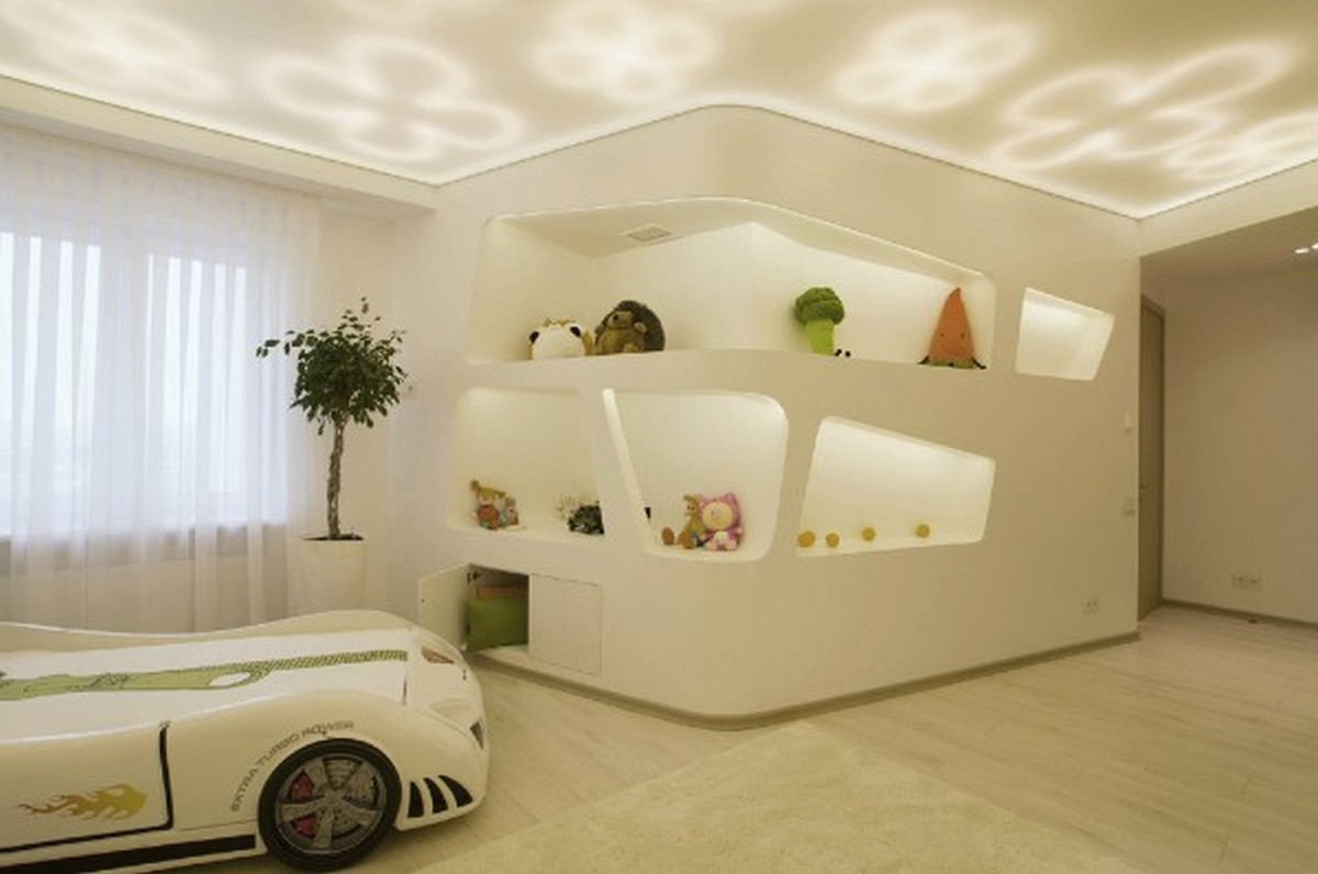детская комната в футуристическом дизайне освещение