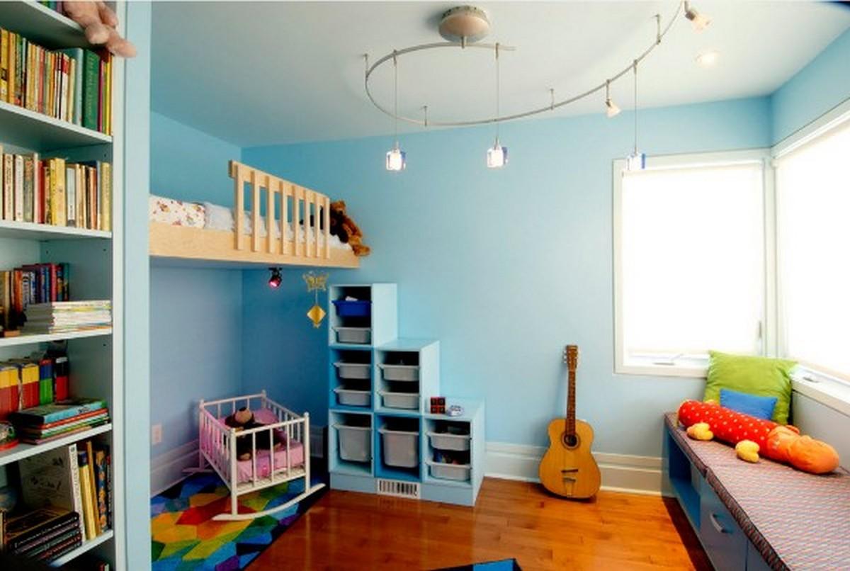 детская комната в голубых тонах освещение