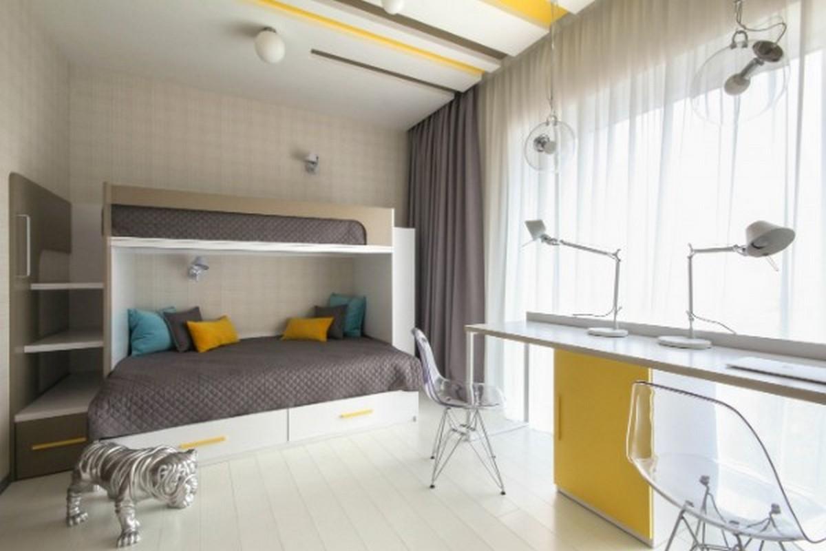 детская комната в серых тонах дизайн освещения