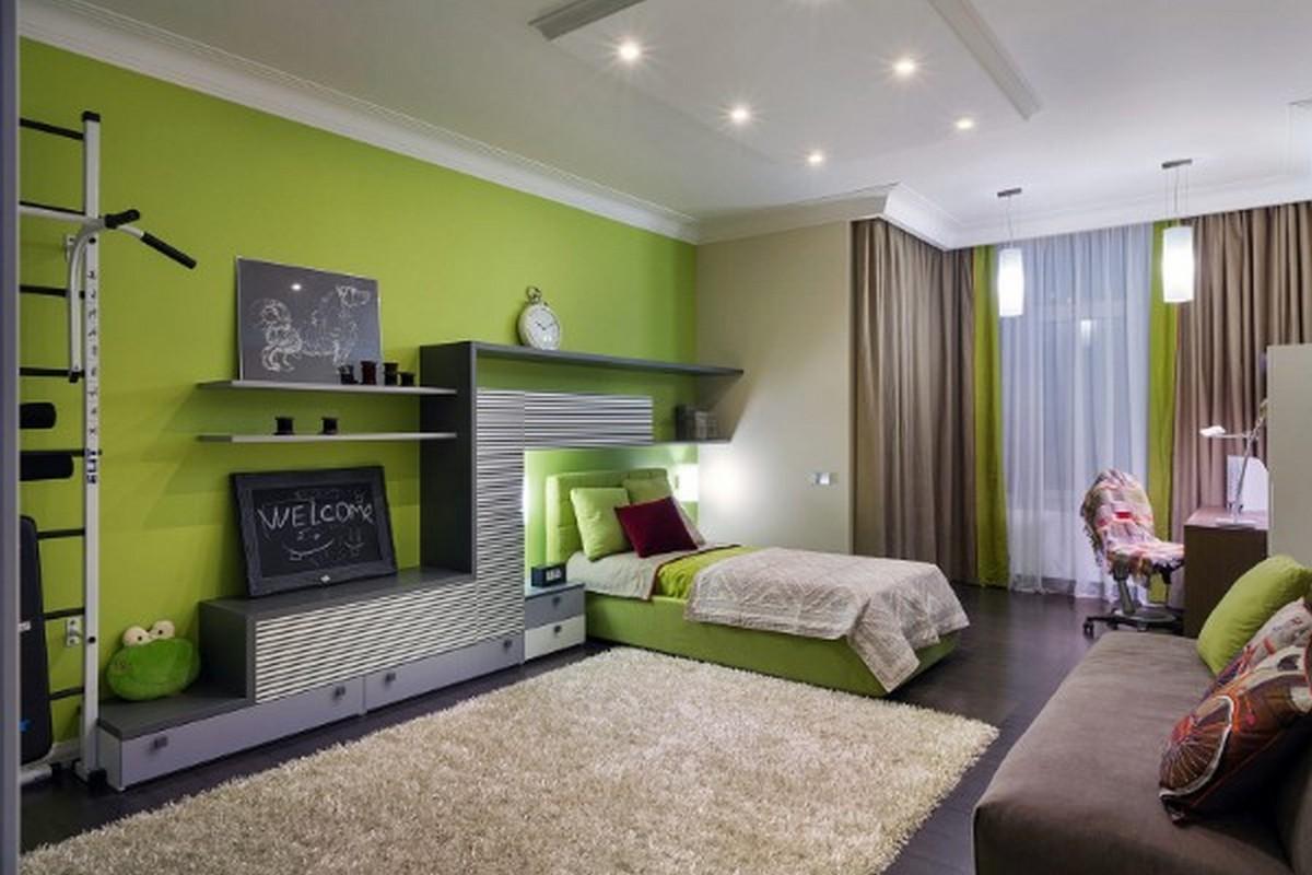 детская комната в зелёном цвете освещение