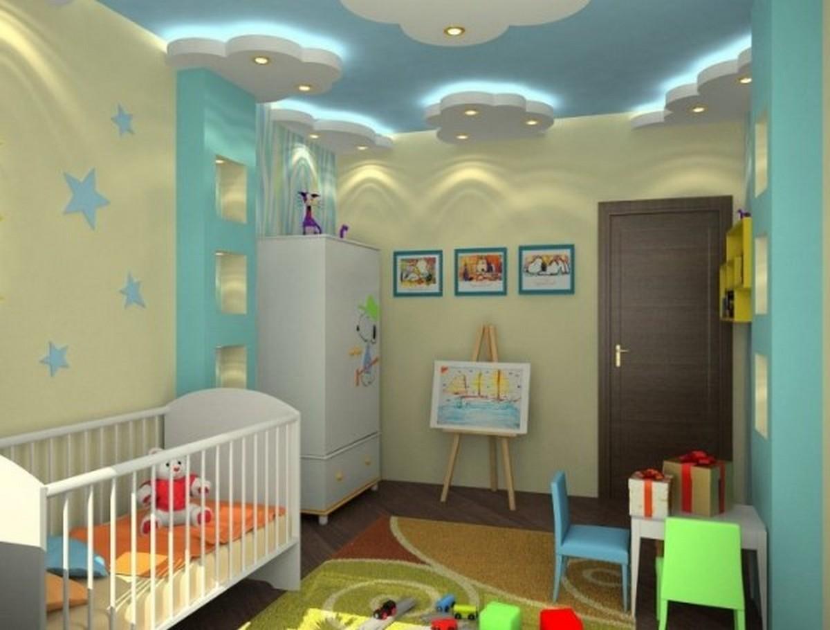 детская комната в жёлто-голубых тонах дизайн освещения