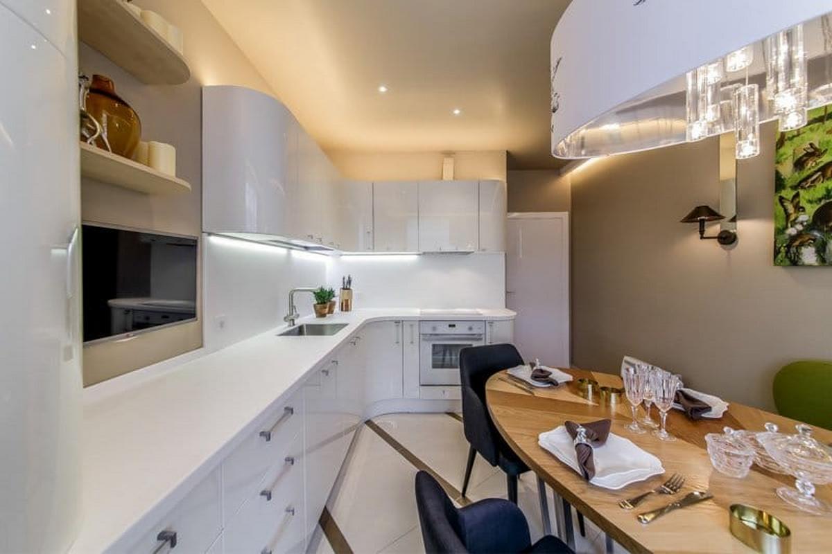 дизайн кухни 12 кв м с телевизором