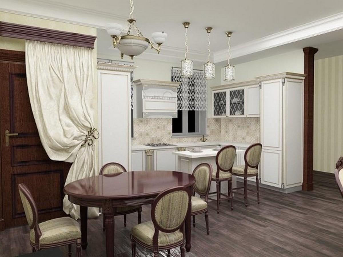 дизайн кухни гостиной в английском стиле