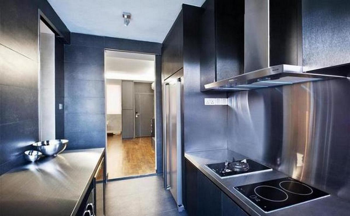 дизайн кухни гостиной в стиле хай тек