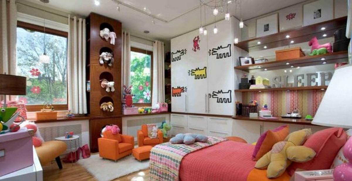 дизайн освещения в детской комнате с натяжным потолком
