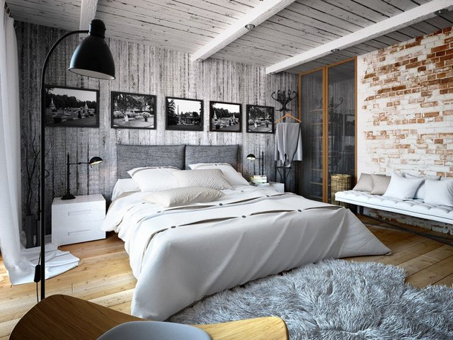 интерьер современной спальни в стиле лофт