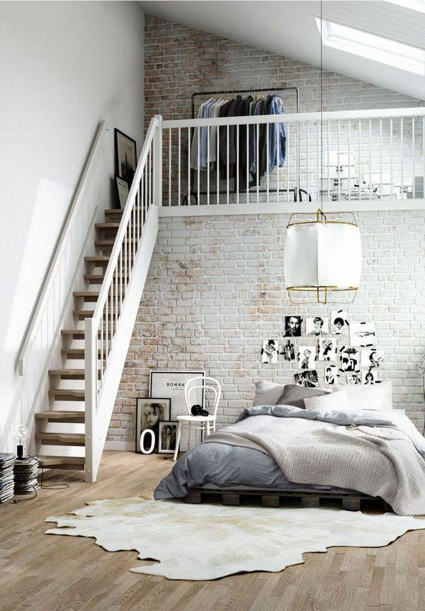 интерьер спальни в стиле лофт два уровня