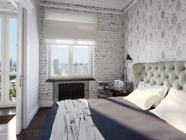 интерьер спальни в стиле лофт окно