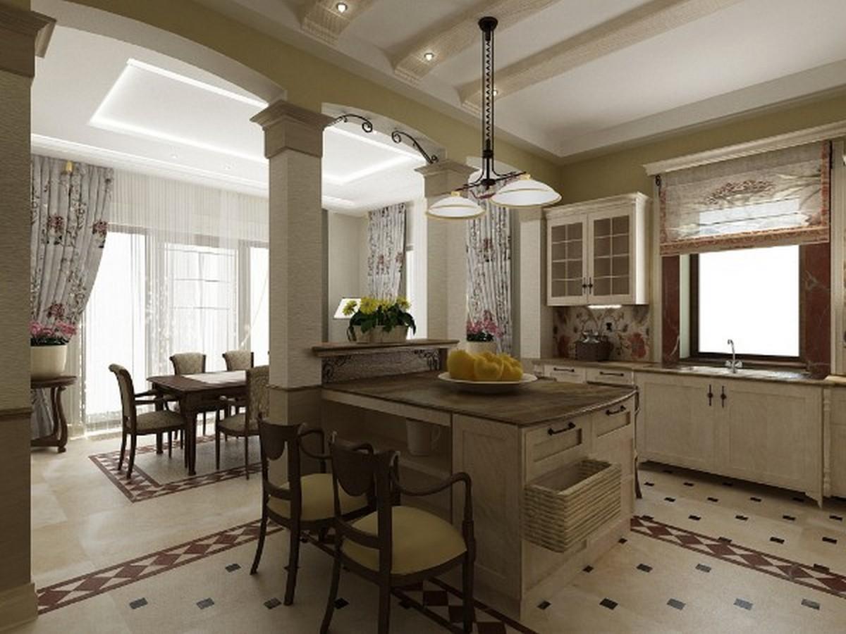 изумительный дизайн кухни гостиной в английском стиле