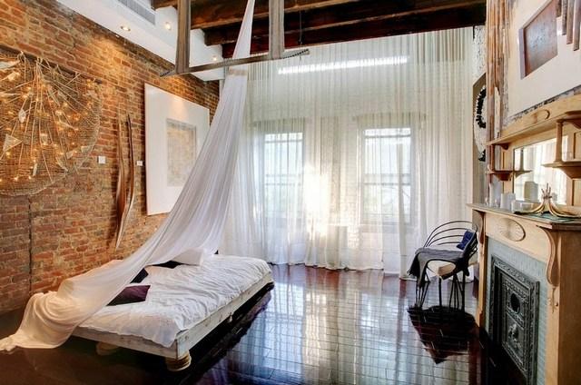 комната спальня в стиле лофт