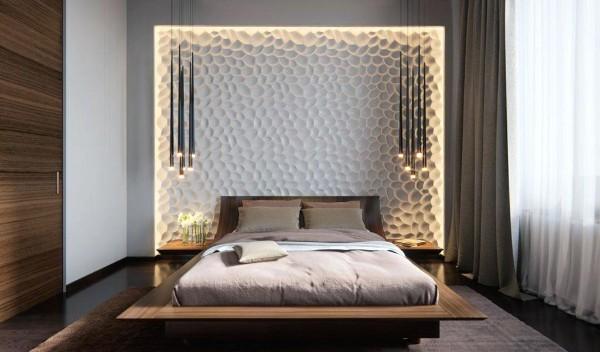 коричневая спальня в современном стиле