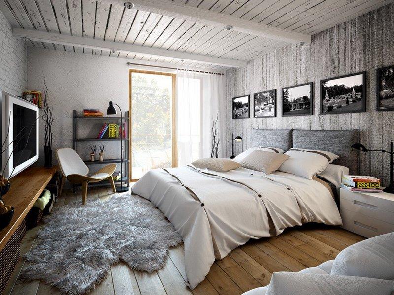 красивая спальня в стиле лофт
