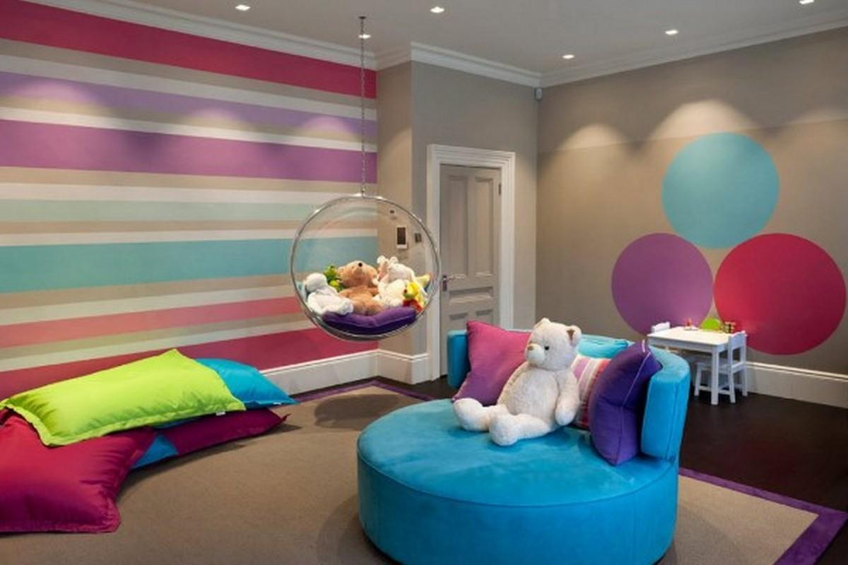 красочная детская комната дизайн освещение