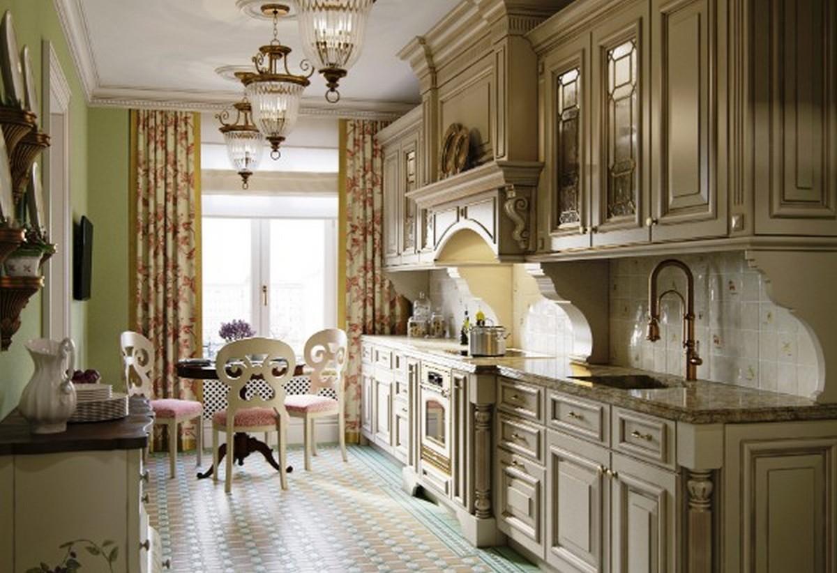 кухня в английском стиле в цвете экрю