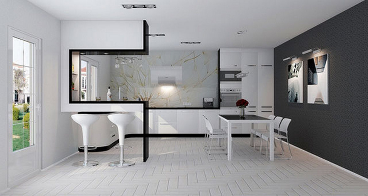 кухня гостиная в стиле хай тек фото