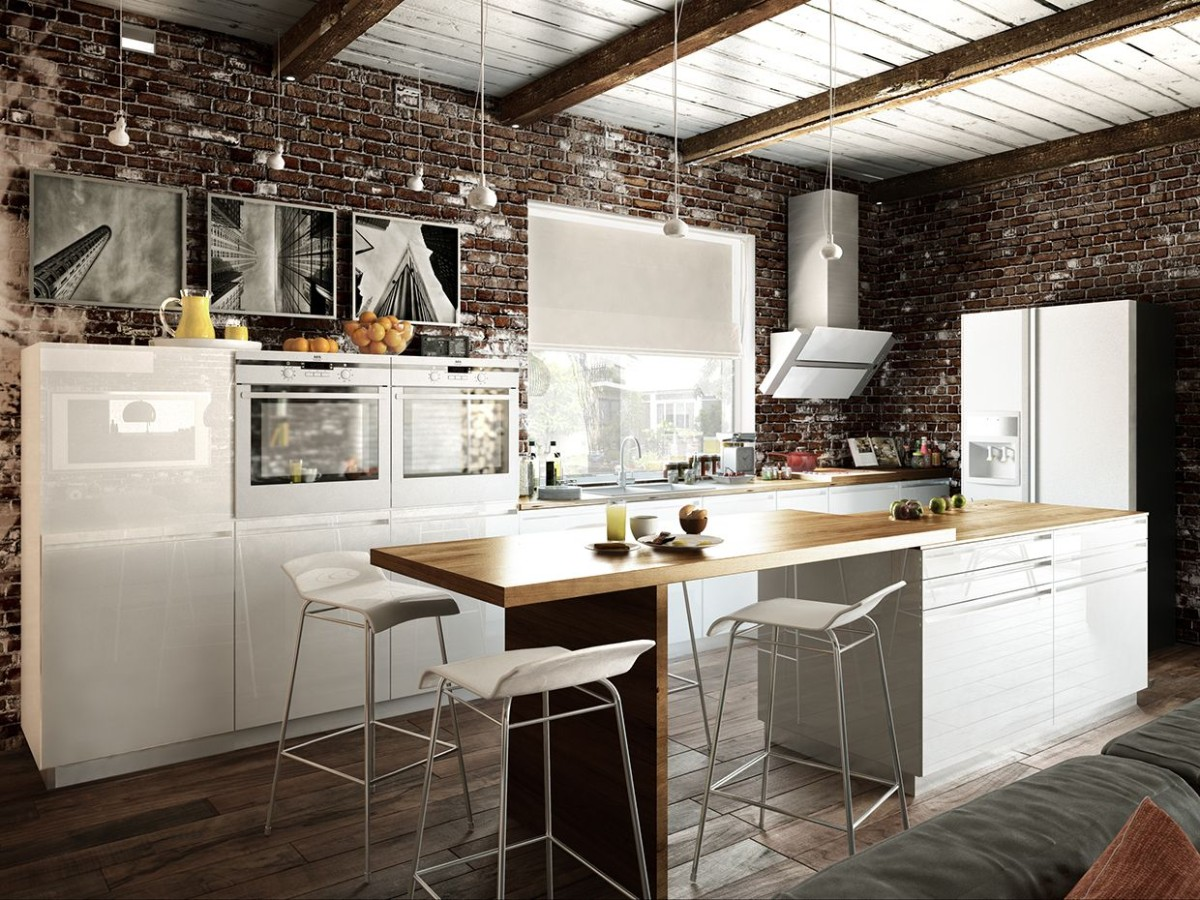 кухня с яркими акцентами лофт