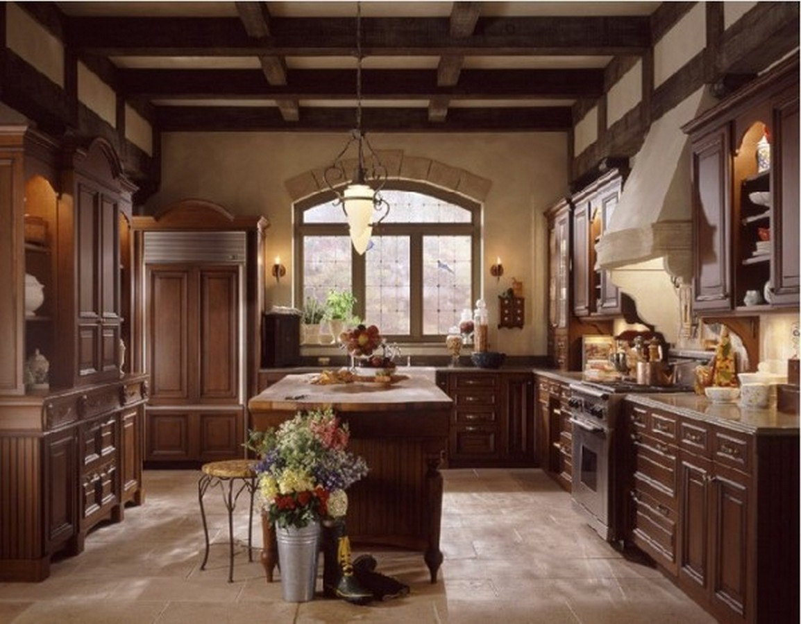 кухня в английском стиле коричневый цвет