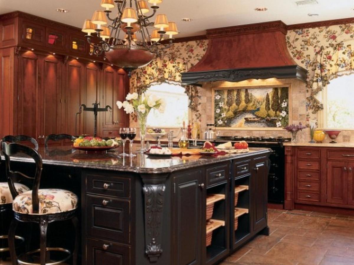 кухня в английском стиле красного дерева