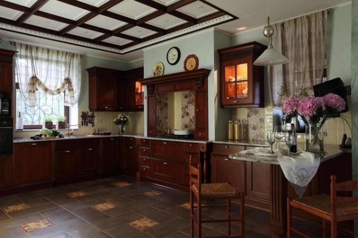 кухня в английском стиле в коричневых тонах