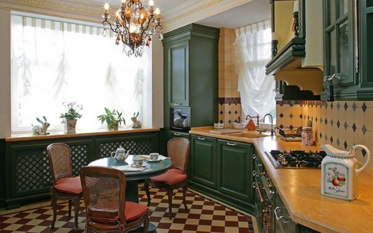 кухня в английском стиле зеленый гарнитур